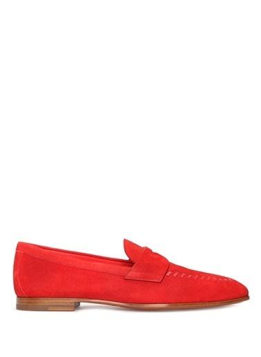 Santoni %100 Deri Loafer Ayakkabı Kırmızı